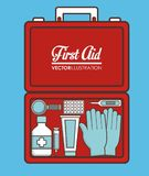 First aid design. First aid box with medical elements over blue background collorful design vector illustration Stock Photography