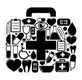 First aid box of of medical icons. Vector illustration Royalty Free Stock Photo