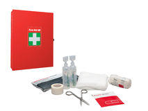 First aid box and medical supplies Royalty Free Stock Photos