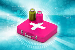 First aid box with medicine. In color background Royalty Free Stock Photo