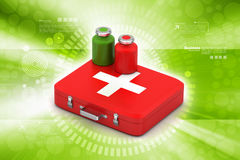 First aid box with medicine. In color background Stock Photography