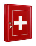 First aid box. Red plastic secure box for first aid Royalty Free Stock Images