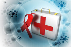First aid box with red ribbon. In color background Stock Images