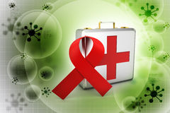 First aid box with red ribbon. In color background Stock Photo