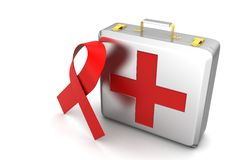 First aid box with red ribbon. In white background Royalty Free Stock Photo