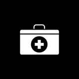 First aid box solid icon. Medicine, medical cross sign vector graphics, a filled pattern on a black background, eps 10 Stock Photography