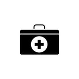 First aid box solid icon. Medicine, medical cross sign vector graphics, a filled pattern on a white background, eps 10 Royalty Free Stock Photography