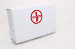 First Aid box standing up. Small first aid kit, blank space for writing, including text or illustrations Stock Photo