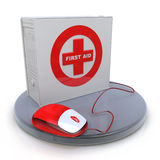 First aid box standing up with mouse. In the design of information related to solving problems Stock Photos