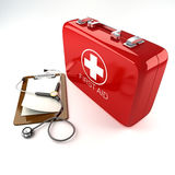 First Aid Box with Stethoscope. 3d image of red first aid box with stethoscope against white background Stock Photos