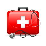 First aid box with Stethoscope. Vector illustration of first aid box with stethoscope Royalty Free Stock Photo
