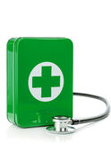 A first aid box with stethoscope. On a white background Royalty Free Stock Images