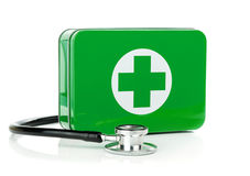 A first aid box with stethoscope. On a white background Royalty Free Stock Photography