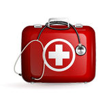 First aid box with stethoscope on white background. First aid red box with stethoscope on white background Stock Photo