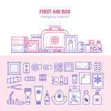 First aid box. Vector first aid  box concept for web design, medical equipment and medications for emergency isolated in white background. Medical icons set in Stock Images