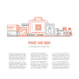First aid box. Web page design template with text, first aid kit , medical equipment and medications for emergency isolated in white background. Vector medical Stock Photos