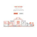 First aid box. Web page design template with text, first aid kit , medical equipment and medications for emergency isolated in white background. Vector medical Royalty Free Stock Images