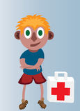 First aid boy. A boy with a first aid kit Stock Photography