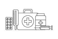 First aid briefcase icon. First aid briefcase and medical equipment over white background. vector illustration Stock Images