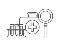 First aid briefcase icon. First aid briefcase, medical tubes and magnifying glass over white background. vector illustration Royalty Free Stock Photography