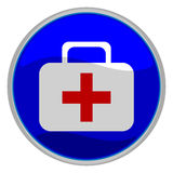 First aid button. Vector illustration of a glossy icon of a first aid kit Stock Images