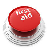 First aid button. 3d render of red First aid button  on white background Stock Photo