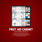 First Aid Cabinet Must Have Medicine For Home Use. Vector Illustration Stock Image