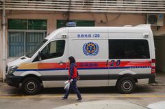 120 first aid car. At the Shenzhen hospital, China Royalty Free Stock Photos