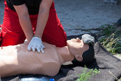 First aid. Cardiopulmonary resuscitation (CPR). Stock Images