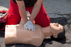 First aid. Cardiopulmonary resuscitation (CPR). Royalty Free Stock Photos