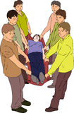 First aid - carry injured person on blanket. Vector vector illustration