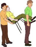 First aid - carry injured woman on chair. Vector vector illustration