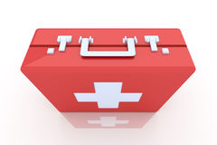 First aid case. 3D rendered Illustration. Red First Aid Case Stock Images