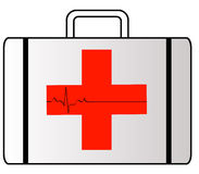 First aid case. White first aid case with red cross symbol with heart rhythm Stock Photography