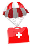 First Aid Case and Parachute. On white background. Isolated 3D image Stock Image