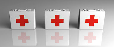 First aid cases. 3D rendered Illustration.First Aid Cases Royalty Free Stock Photo