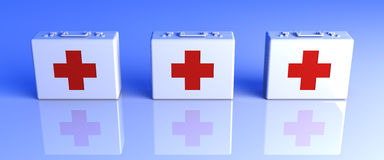 First Aid Cases. 3D rendered Illustration.First Aid Cases Royalty Free Stock Photography