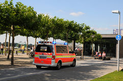 First Aid in the center of Duesseldorf. Response to emergencies on the bank of the Rhine in Düssledorf Royalty Free Stock Photos