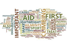 First Aid For Climbers Text Background  Word Cloud Concept Stock Photos