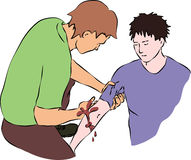 First aid - close blood flow from wound. Vector Stock Image