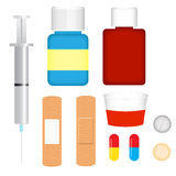 First Aid Collection. A set of first aid related items for cards, clipart, etc Royalty Free Stock Photos