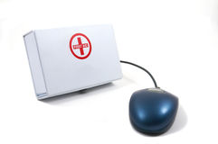 First Aid for Computers, mouse. First Aid for Computers, Tele Medicine, Medical, Computer antivirus, Kit with mouse Stock Photo