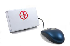 First Aid for Computers, mouse. First Aid for Computers, Tele Medicine, Medical, Computer antivirus, Kit with mouse Stock Photography