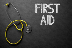 First Aid Concept on Chalkboard. 3D Illustration. Royalty Free Stock Images
