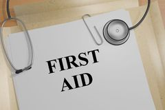 FIRST AID concept. 3D illustration of FIRST AID title on a medical document Royalty Free Stock Images