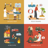 First Aid Concept 4 Flat Icons. First air assistance for drowning and fire victims rescue on spot 4 flat icons square  vector illustration Royalty Free Stock Photography