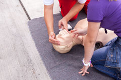 First aid. CPR. Cardiopulmonary resuscitation (CPR). First aid training Stock Image