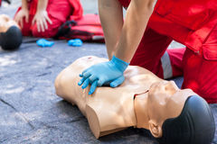 First aid. CPR. First aid training. Cardiopulmonary resuscitation - CPR Royalty Free Stock Images