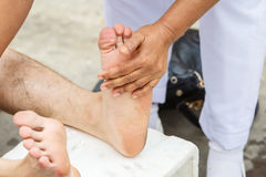 First aid for cramp injury Royalty Free Stock Photo