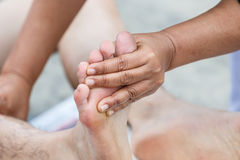 First aid for cramp injury Royalty Free Stock Photography